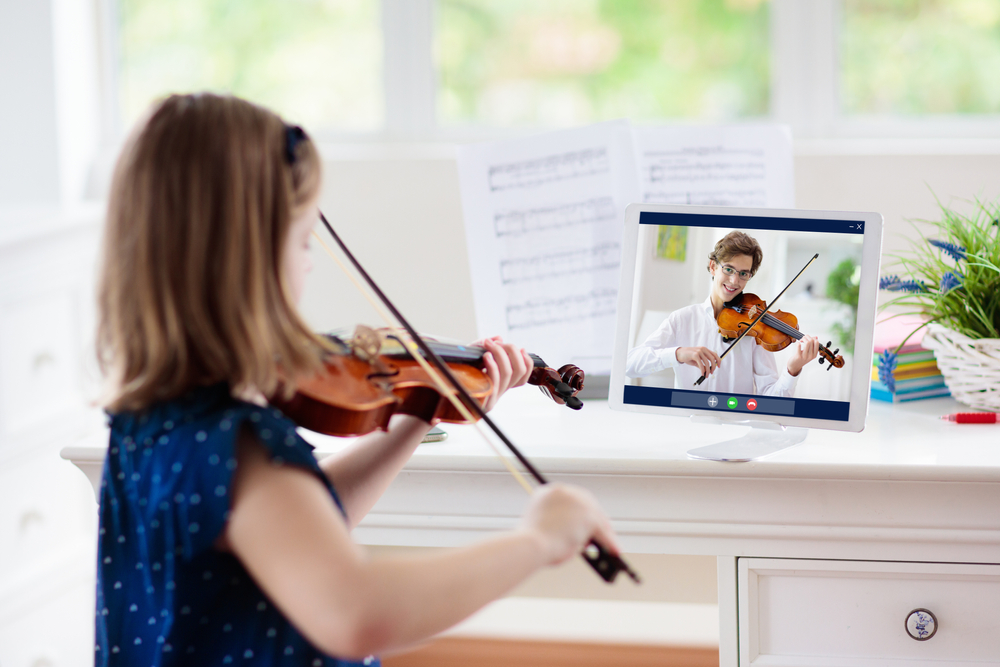 Child,Playing,Violin.,Remote,Learning,From,Home.,Arts,For,Kid.